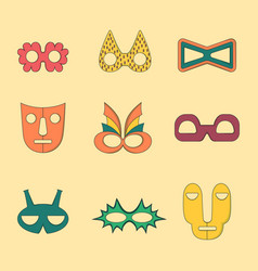 Set of flat style outlined masks without handles vector