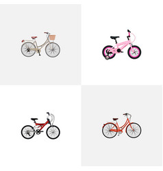 Set of realistic symbols with teenager kids ol vector