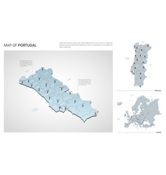 Set portugal country isometric 3d map portugal vector