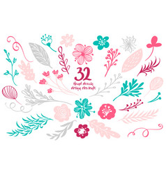 set spring floral decor elements vector image