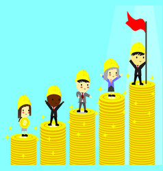 side view of a businessman climbing stacks bitcoin vector image