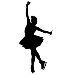silhouettes girls skaters figure skating black vector image