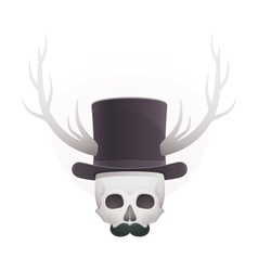 skull in with horns and a mustache vector image