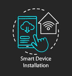 Smart device installation chalk concept icon home vector