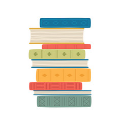 stack colorful books isolated on white vector image