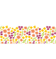 summer flowers seamless repeat border vector image
