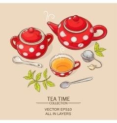 tea set red vector image