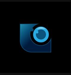 Technology eye orbit web rings logo design vector