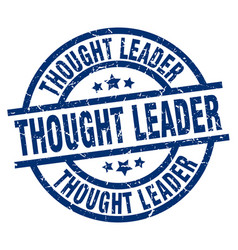 Thought leader blue round grunge stamp vector
