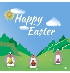 Three Easter bunny in the forest glade vector image