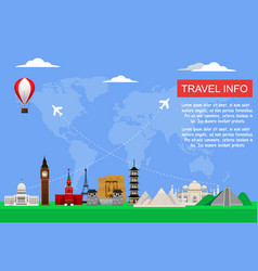 Travel concept with famous world monuments vector