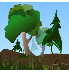 Trees and grass vector image