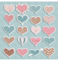Valentines Day Hearts Retro Sketchy Doodles on vector image