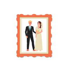 wedding snapshot couple in photo frame flat vector image