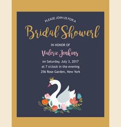 Wedding with swan braidal shower invitation card vector