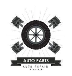 Wheel icon Auto part design graphic vector image