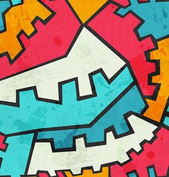 colored gear seamless pattern with grunge effect vector image