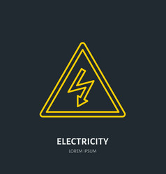 electricity flat line icon high voltage danger vector image