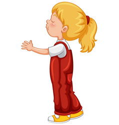little girl in red overall outfit vector image