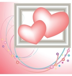 postcard Valentine with pink hearts vector image