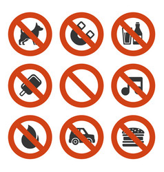 prohibited signs set vector image vector image