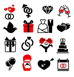 Wedding marriage bridal icons set vector image