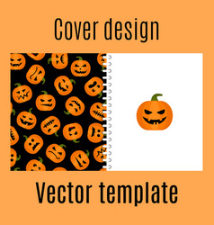 cover design with pumpkin harvest pattern vector image