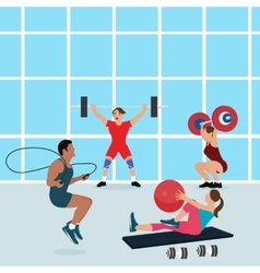 gym people workout together fitness center vector image