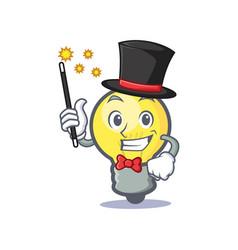 magician light bulb character cartoon vector image
