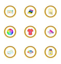 print process icons set cartoon style vector image