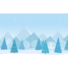 Beautiful Chrismas winter flat landscape vector image