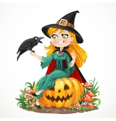 Beautiful witch sitting on a pumpkin and talks to vector image