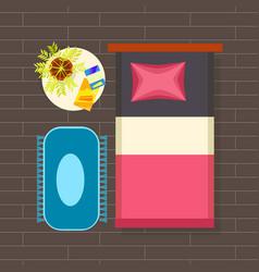 bedroom interior planning vector image