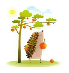 farm hedgehog near apple tree harvesting vector image
