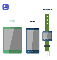 Flat PC tablet Smartphone and smartwatch vector image vector image