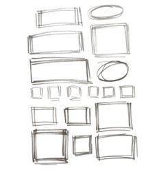 Hand drawn felp-tip pen frames vector image