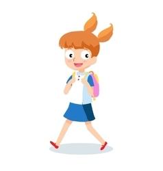School girl goes to school with backpack cartoon vector image vector image