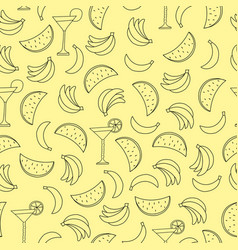 seamless pattern with bananas and watermelon on vector image