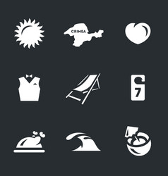 set of resort icons vector image