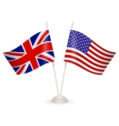 Table stand with flags of England and USA vector image