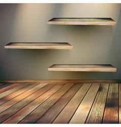 Wooden shelves background EPS 10 vector image