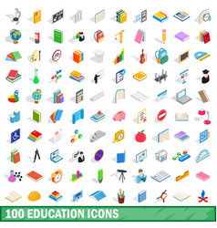 100 education icons set isometric 3d style vector image vector image