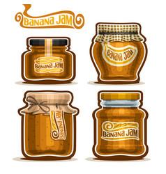 Banana jam in glass jars vector