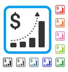 business bar chart positive trend framed icon vector image vector image