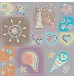 Navy seamless pattern Waves crab wheel vector image vector image