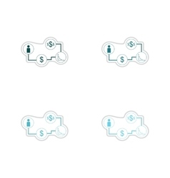 Set of paper stickers on white background economy vector image vector image