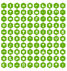 100 country house icons hexagon green vector