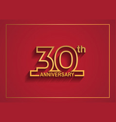 30 anniversary design with simple line style vector