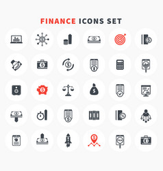 30 finance icons set investment stocks funds vector image