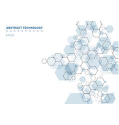 abstract blue hexagonal molecular structure vector image